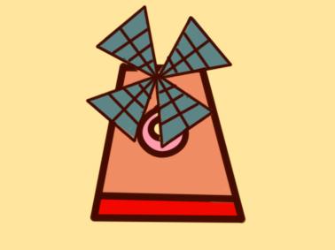 可爱的大风车简笔画要怎么画
