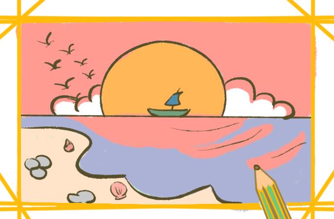 美麗的落日簡筆畫要怎么畫美麗的夕陽簡筆畫