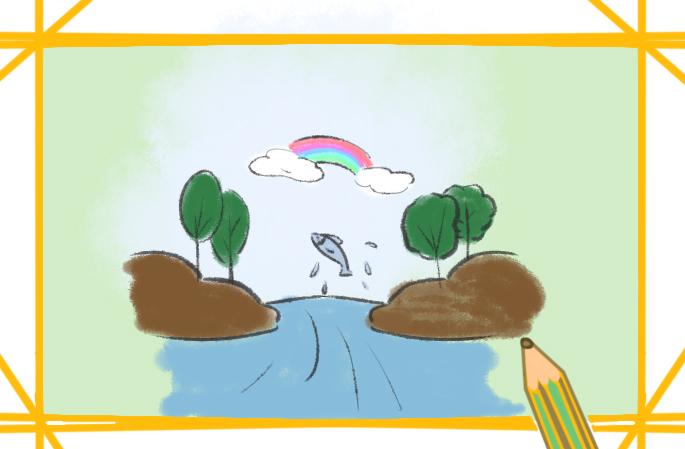 生機勃勃的河流原創簡筆畫要怎么畫