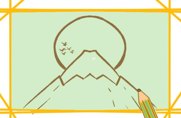 美景之富士山上色简笔画要怎么画图片