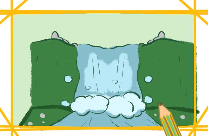 湍急的瀑布簡筆畫要怎么畫美麗的瀑布簡筆畫