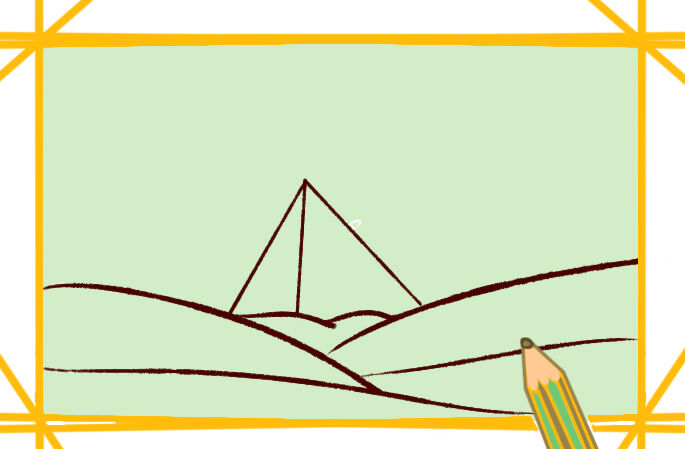 雄伟的金字塔涂色简笔画要怎么画