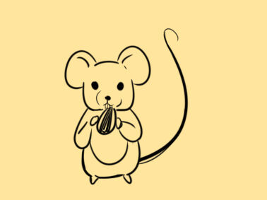 嗑瓜子的老鼠简笔画怎么画
