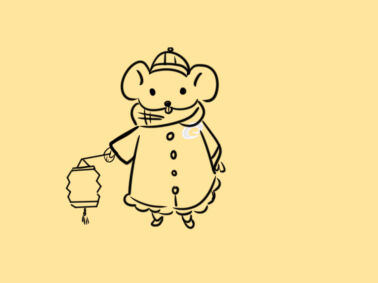 新年手抄报老鼠提灯笼简笔画