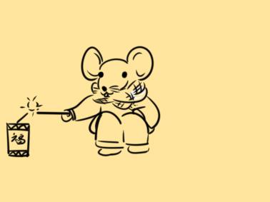 又简单又好看的春节老鼠点鞭炮简笔画原创教程步骤 5068儿童网