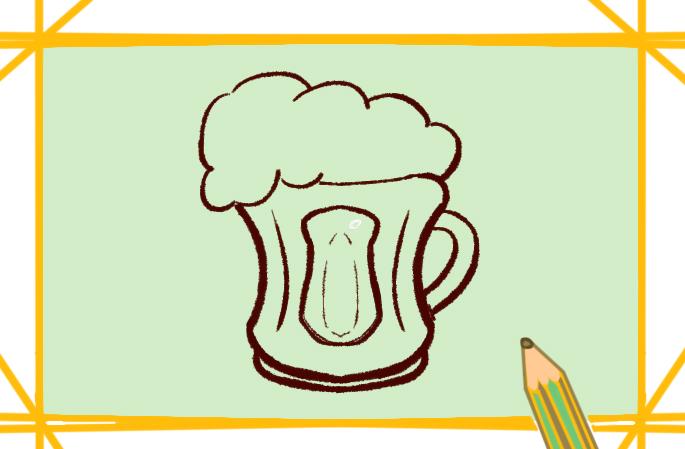大杯啤酒原创简笔画要怎么画