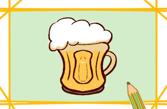 大杯啤酒原創簡筆畫要怎么畫
