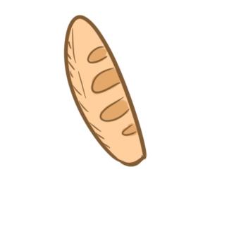 淡黄色的长条面包简笔画要怎么画