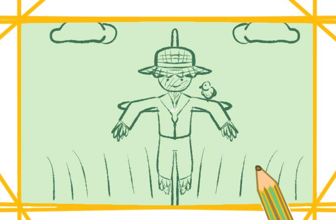 田园里的稻草人原创简笔画要怎么画