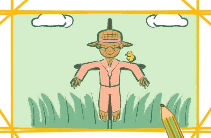 田园里的稻草人简笔画原创教程步骤 5068儿童网