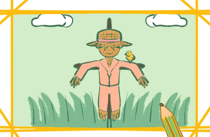 田園里的稻草人原創簡筆畫要怎么畫