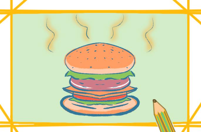 诱人的汉堡上色简笔画图片教程