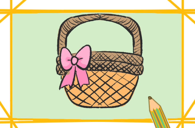 朴实的花篮上色简笔画要怎么画