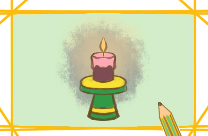 鲜艳的蜡烛涂色简笔画要怎么画