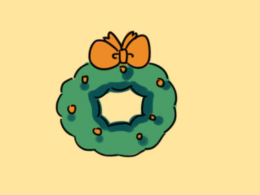 圣诞花圈简笔画要怎么画