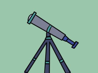 天文望远镜上色简笔画图片教程