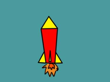 简单的火箭上色简笔画要怎么画