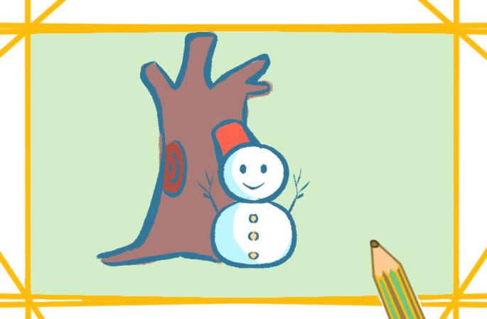 堆雪人上色简笔画图片教程