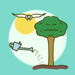一起种树的植树节儿童简笔画要怎么画