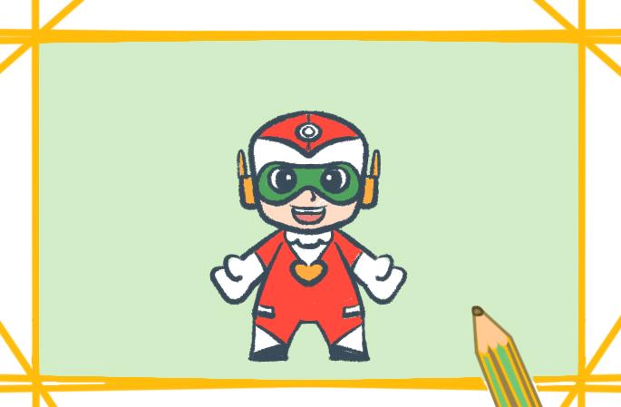 开心超人简笔画原创教程步骤 5068儿童网