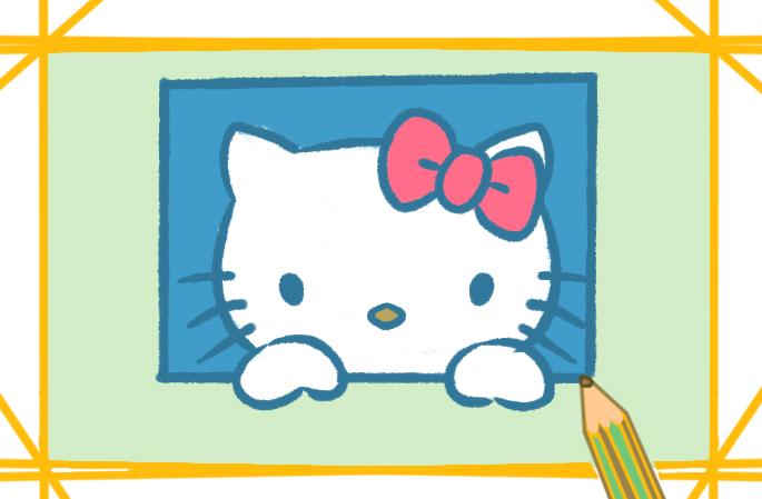 漂亮的凯蒂猫上色简笔画图片教程