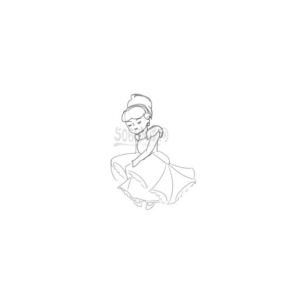 又简单又好看的漂亮的灰姑娘简笔画原创教程步骤 5068儿童网