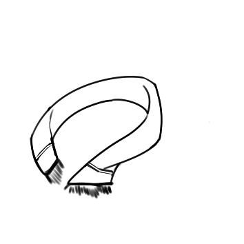 超简单的围巾简笔画步骤图