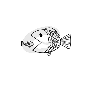 又简单又好看的大鱼吃小鱼简笔画原创教程步骤 5068儿童网