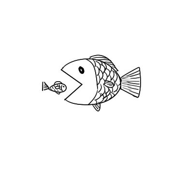 大鱼吃小鱼的简笔画原创教程步骤 5068儿童网