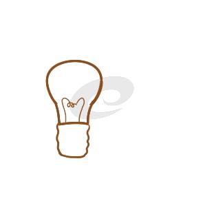 超简单的灯泡简笔画步骤图