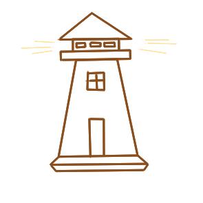超简单的灯塔简笔画步骤图
