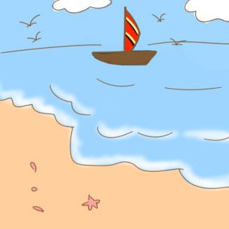 海边风景简笔画怎么画