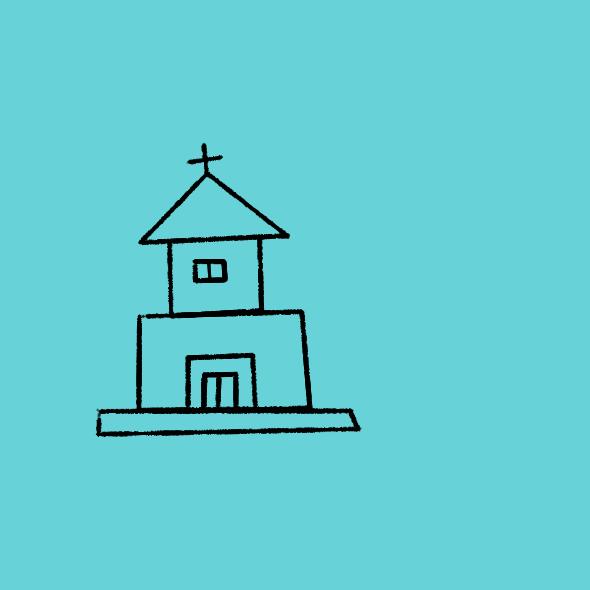 超级容易画的教堂简笔画