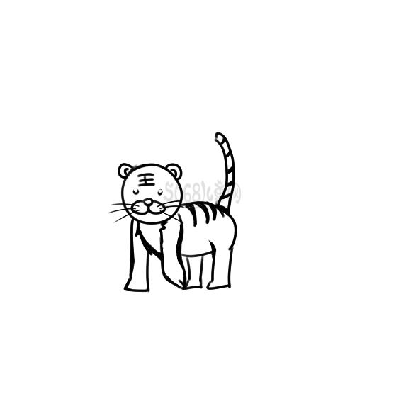 又简单又好看的小老虎简笔画原创教程步骤 5068儿童网