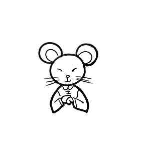 鼠年老鼠拜年简笔画手绘教程