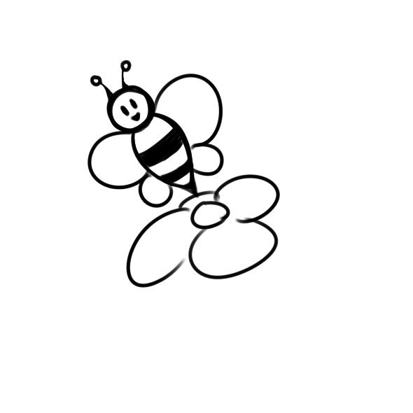 超簡單的采蜜的蜜蜂簡筆畫步驟圖