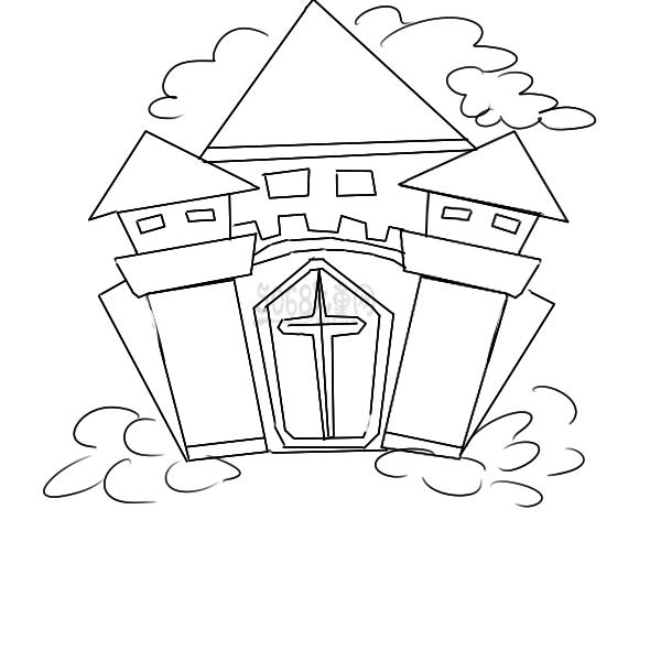 超簡單的魔法城堡簡筆畫步驟圖