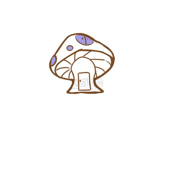 超簡單的蘑菇屋簡筆畫步驟圖