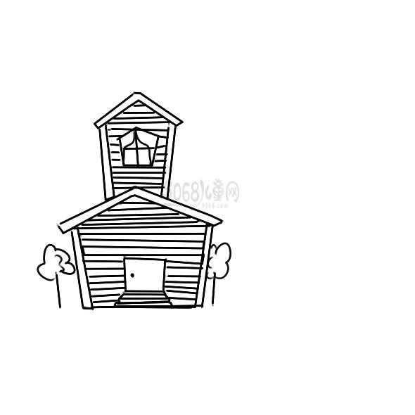 可愛的小木屋怎么畫