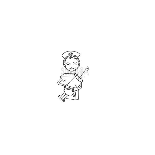 又简单又好看的女护士简笔画原创教程步骤 5068儿童网