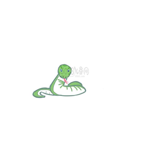 手绘青蛇简笔画过程图
