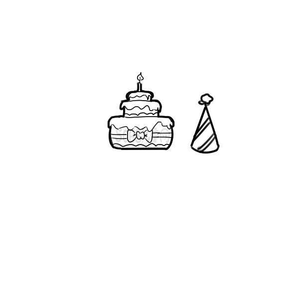 生日蛋糕简笔画教程步骤