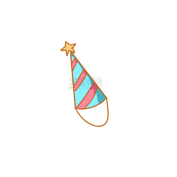 漂亮的生日帽子简笔画教程步骤