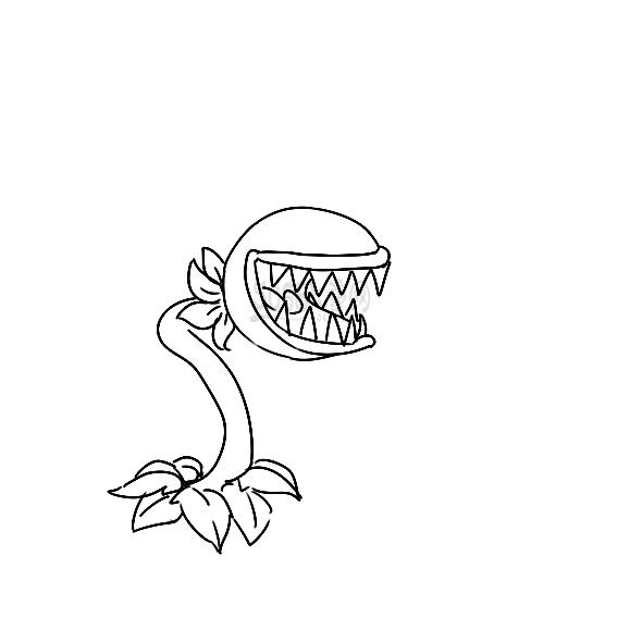 可怕的食人花简笔画手绘步骤图