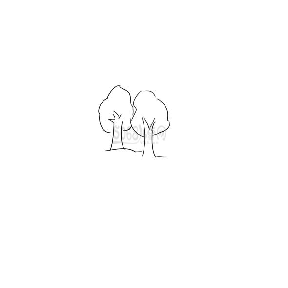 又简单又好看的树丛简笔画原创教程步骤