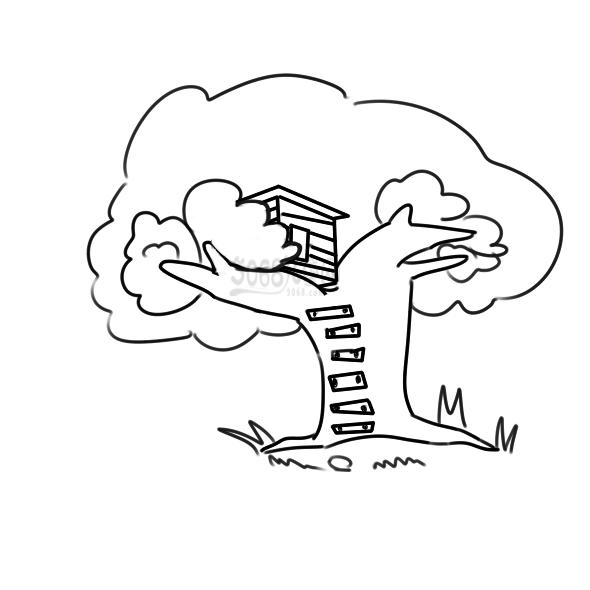 漂亮的树屋怎么画