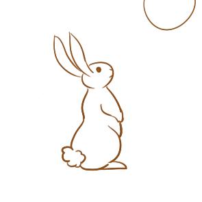 望着月亮的兔子简笔画要怎么画