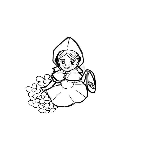 可愛的小紅帽簡筆畫手繪步驟圖