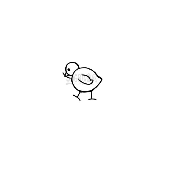 小鸡吃虫子要怎么画