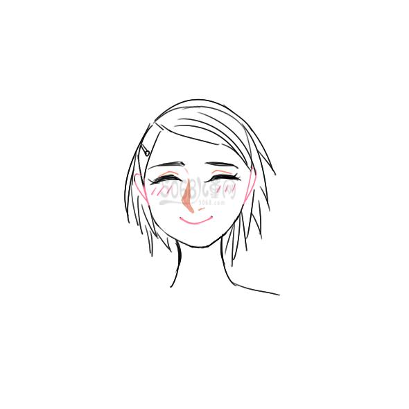 又简单又好看的女孩子的笑脸简笔画原创教程步骤 5068儿童网